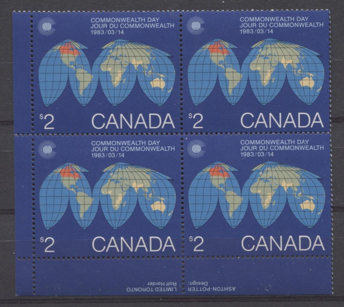 Canada #977 (SG#1084) $2 1983 Commonwealth Day Issue LL Inscription Block DF-fl Paper VF-84 NH Brixton Chrome