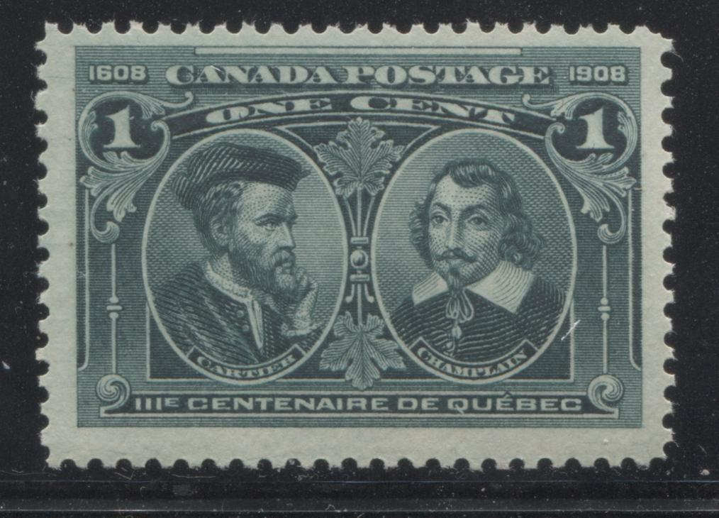 Canada #97i 1c Deep Blue Green Champlain and Cartier, 1908 Quebec Tercentenary Issue, Fine Mint NH Single Showing Hairlines Brixton Chrome