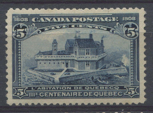 Canada #99 (SG#191) 5c Dark Blue Quebec Tercentenary Issue Coarse Mesh Paper VF-77 Unused Brixton Chrome