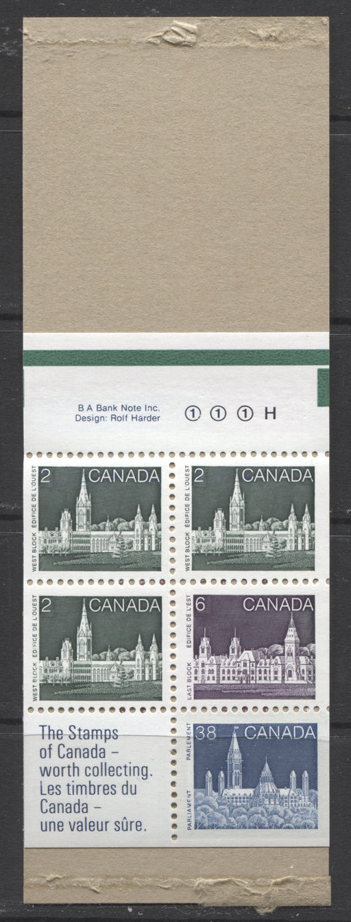 "Canada #BK100b 1982-1987 Artifacts and National Parks Issue, Complete 50¢ Counter Booklet, Coated Harrison Paper, Low Fluorescent Paper, Rolland Cover, Type 3 ""H"" on Back Cover, Type 2 Tab Markings Brixton Chrome"