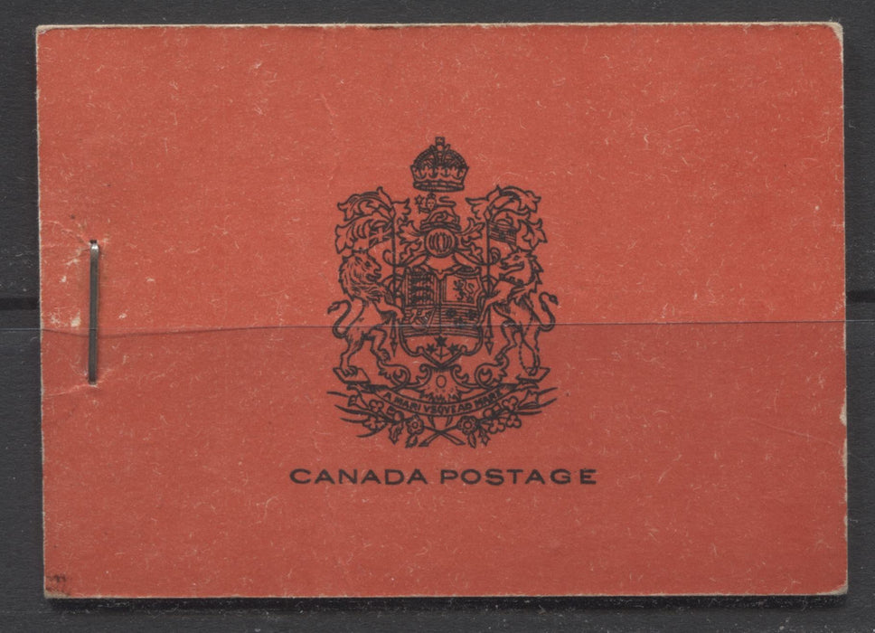 Canada #BK16a-b 1930-1933 Arch Issue, Complete 25¢ English Booklet, 12 mm Staple, Vertical Wove Paper, Typographed Covers Brixton Chrome VF-75 Plain, with no markings