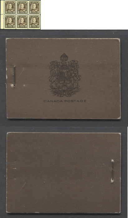 Canada #BK17a 1930-1933 Arch Issue, Complete 25¢ English Booklet, 12 mm Staple, Vertical Wove Paper, Typographed Covers Brixton Chrome
