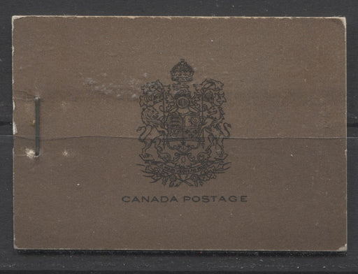 Canada #BK17a-b 1930-1933 Arch Issue, Complete 25¢ English Booklet, 12 mm Staple, Vertical Wove Paper, Typographed Covers Brixton Chrome F-65 Plain, with no markings
