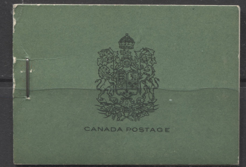 Canada #BK20b 1933-1934 Medallion Issue, Complete 25¢ English Booklet, 12 mm Staple, Vertical Wove Paper Brixton Chrome F-69