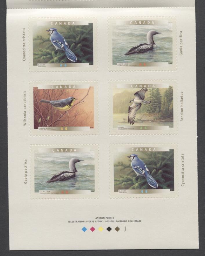 Canada #BK225b (SG#SB238) $5.52 2000 Birds of Canada Booklet NF/HB Paper Open Cover VF-84 NH Brixton Chrome