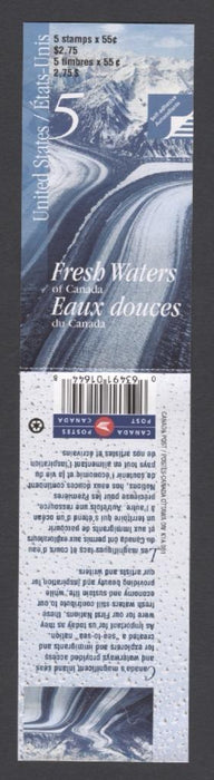 Canada #BK228b (SG#SB241) $2.75 2000 Fresh Waters Booklet LF/HF Paper Open Cover VF-84 NH Brixton Chrome