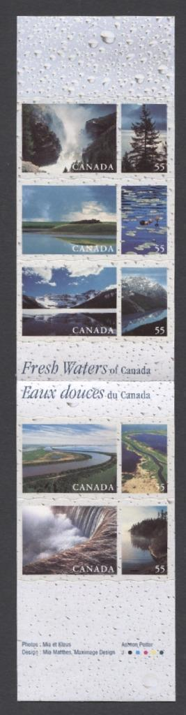 Canada #BK228b (SG#SB241) $2.75 2000 Fresh Waters Booklet NF/MF Paper Open Cover VF-84 NH Brixton Chrome