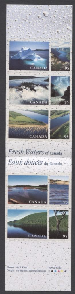 Canada #BK229b (SG#SB242) $4.75 2000 Fresh Waters Booklet LF/HF Paper Open Cover- VF-84 NH Brixton Chrome