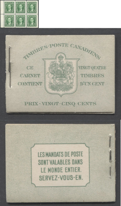 Canada #BK28b 1937-1942 Mufti Issue, Complete 25¢ French Booklet, Vertical Wove Paper, Type II Covers, Harris Front Cover Type IIk, Double Staple Error Brixton Chrome