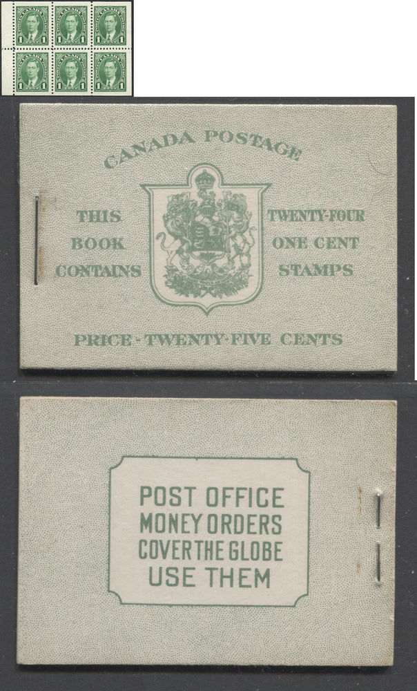 Canada #BK28c 1937-1942 Mufti Issue, Complete 25¢ English Booklet, Smooth Vertical Wove Paper, Type II Covers, Harris Front Cover Type IIb, 6c Airmail Rate Page Brixton Chrome