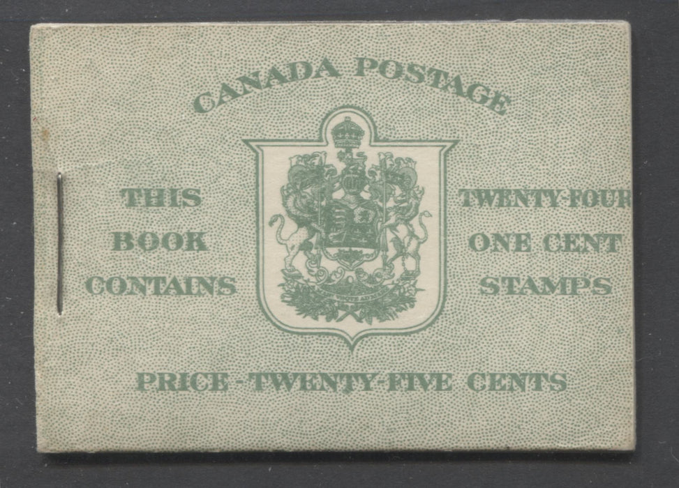Canada #BK28e 1937-1942 Mufti Issue, Complete 25¢ English Booklet, Smooth Crisp Vertical Wove Paper, Type III Covers, Harris Front Cover Type IIb, No Rate Page Brixton Chrome