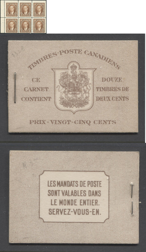 Canada #BK29c 1937-1942 Mufti Issue, Complete 25¢ French Booklet, Smooth Vertical Wove Paper, Type II Covers, Harris Front Cover Type IIl, 6c Airmail Rate Page Brixton Chrome