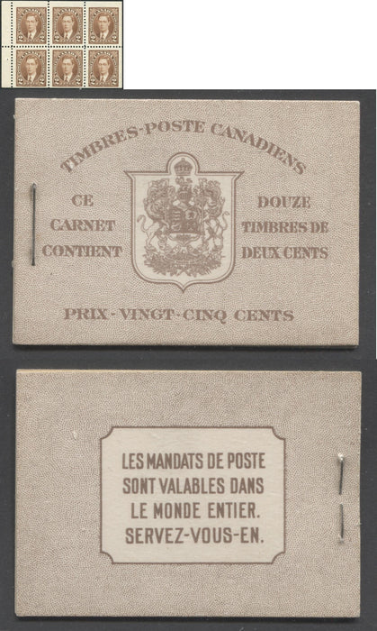 Canada #BK29c 1937-1942 Mufti Issue, Complete 25¢ French Booklet, Smooth Vertical Wove Paper, Type II Covers, Harris Front Cover Type IIm, 6c Airmail Rate Page Brixton Chrome