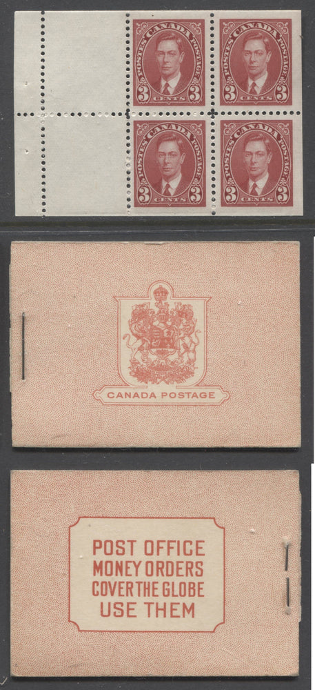 Canada #BK30a 1937-1942 Mufti Issue, Complete 25¢ English Booklet, Horizontally Ribbed Paper, Type I Front Cover Brixton Chrome