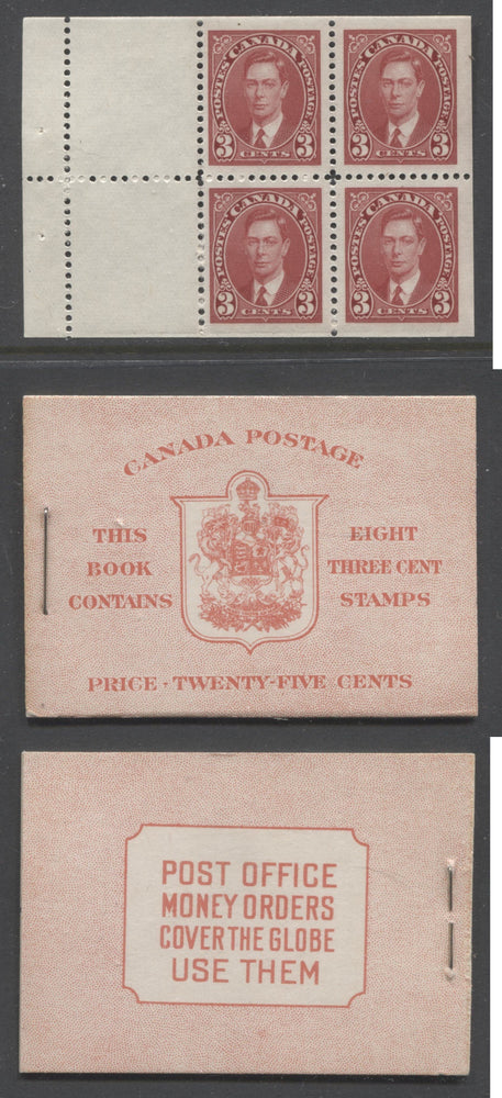 Canada #BK30c 1937-1942 Mufti Issue, Complete 25¢ English Booklet, Ribbed and Smooth Vertical Wove Paper, Type II Covers, Harris Front Cover Type IIe, 6c Rate Page Brixton Chrome