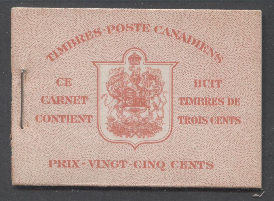 Canada #BK30c 1937-1942 Mufti Issue, Complete 25¢ French Booklet, Smooth Wove Paper, Type II Covers, Harris Front Cover Type IIo, 6c Rate Page Brixton Chrome