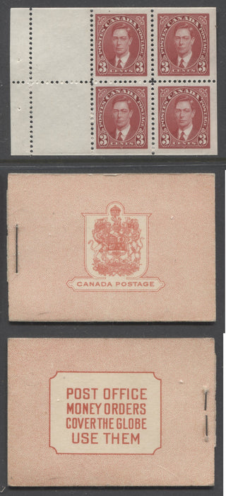 Canada #BK31b 1937-1942 Mufti Issue, Complete 25¢ English Combination Booklet, Smooth Crisp Wove Paper, Type I Front Cover Brixton Chrome