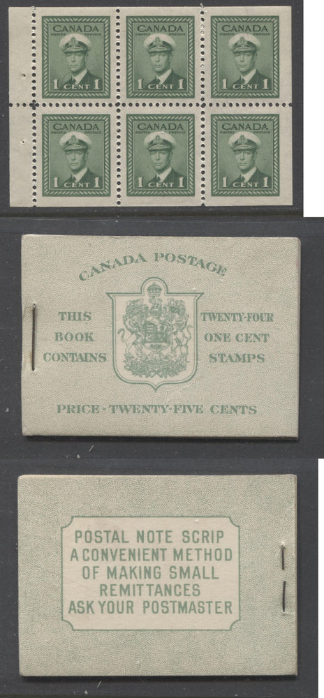 Canada #BK32e 1942-1949 War Issue, Complete 25¢ English Booklet, Smooth Vertical Wove Paper, Type II Covers, Harris Front Cover Type IIb, Back Cover Type Cbiii, 7c & 5c Airmail Rates Page Brixton Chrome