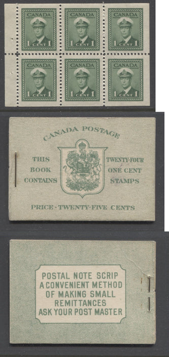 Canada #BK32f 1942-1949 War Issue, Complete 25¢ English Booklet, Ribbed and Smooth Vertical Wove Paper, Type IIa Covers, Harris Front Cover Type IIa, Back Cover Type Cbi, 7c & 6c Airmail Rates Page Brixton Chrome