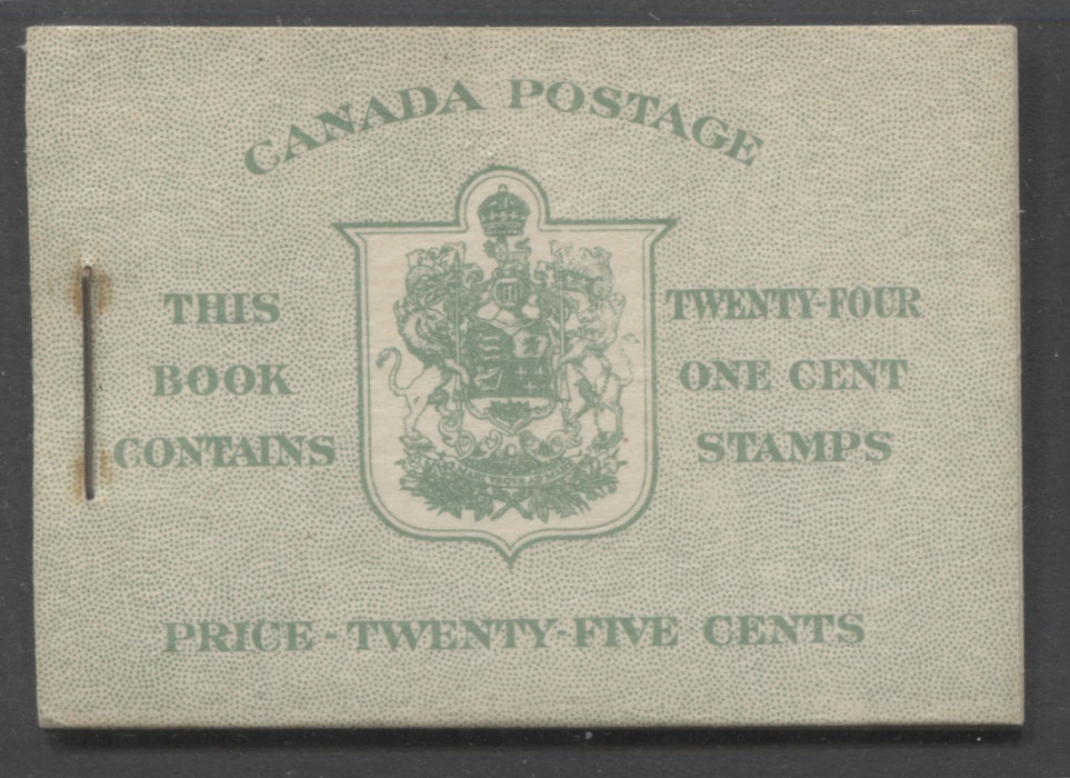 Canada #BK32f 1942-1949 War Issue, Complete 25¢ English Booklet, Ribbed Vertical Wove Paper, Type IIa Covers, Harris Front Cover Type IIa, Back Cover Type Cbi, 7c & 6c Airmail Rates Page Brixton Chrome