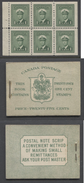 Canada #BK32f 1942-1949 War Issue, Complete 25¢ English Booklet, Smooth Vertical Wove Paper, Type IIa Covers, Harris Front Cover Type IIb, Back Cover Type Cbiii, 7c & 6c Airmail Rates Page Brixton Chrome
