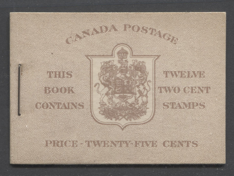 Canada #BK33a 1942-1949 War Issue, Complete 25¢ English Booklet, Smooth Vertical Wove Paper, Type II Covers, Harris Front Cover Type IId, 6c Airmail Rate Page Brixton Chrome