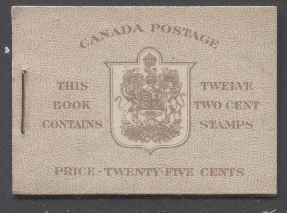 "Canada #BK33b 1942-1949 War Issue, Complete 25¢ English Booklet, Smooth Vertical Wove Paper, Type II Covers, Harris Front Cover Type IId, 6c Airmail Rate Page, With Red ""X"" Brixton Chrome"