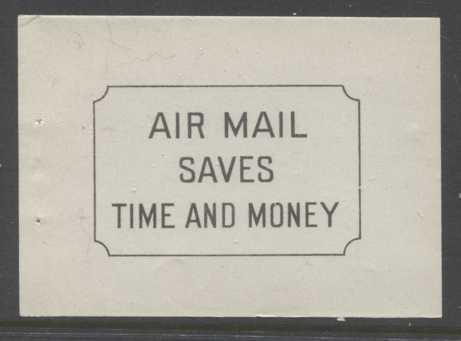 Canada #BK34a 1942-1949 War Issue, Complete 25¢ English Booklet, Smooth Vertical Wove Paper, Type II Covers, Harris Front Cover Type IIe, Back Cover Type A, 6c Airmail Rate Page Brixton Chrome