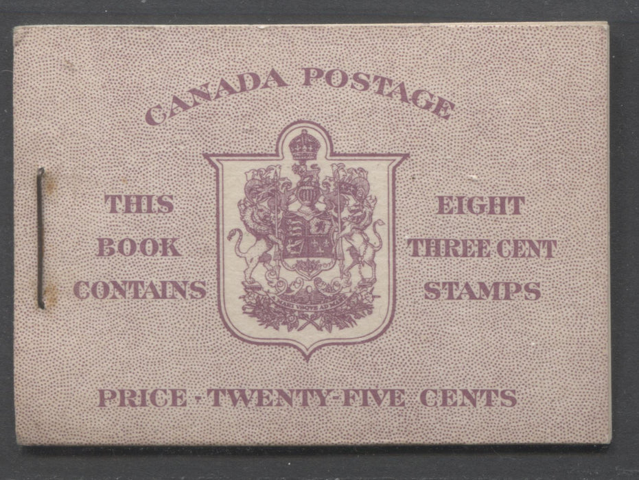 Canada #BK35c 1942-1949 War Issue, Complete 25¢ English Booklet, Smooth Vertical Wove Paper, Type II Covers, Harris Front Cover Type IIe, Back Cover Type Cbiii, 7c and 6c Airmail Rate Page Brixton Chrome