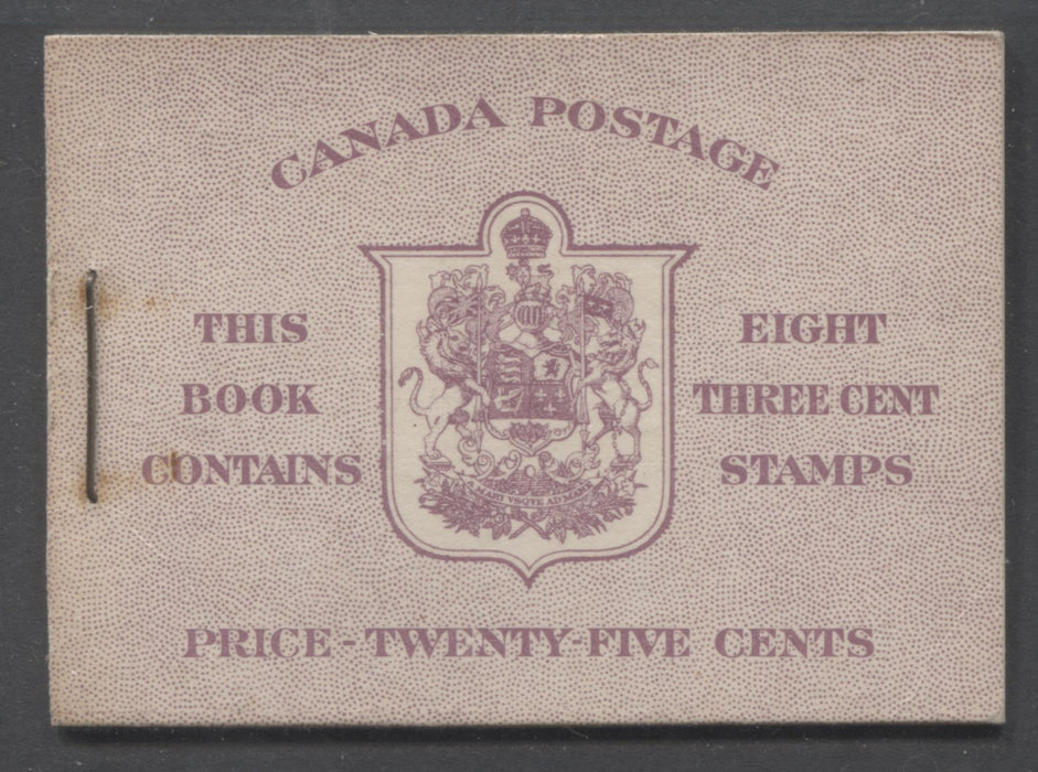 Canada #BK35c 1942-1949 War Issue, Complete 25¢ English Booklet, Smooth Vertical Wove Paper, Type II Covers, Harris Front Cover Type IIf, Back Cover Type Cbi, 7c and 6c Airmail Rate Page Brixton Chrome