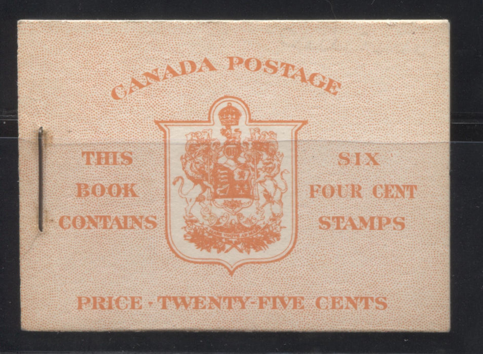 Canada #BK36d 1942-1949 War Issue, Complete 25¢ English Booklet, Smooth Vertical Wove Paper, Type II Covers, Harris Front Cover IIi, Back Cover Type Caiii, 7c and 6c Rate Page Brixton Chrome