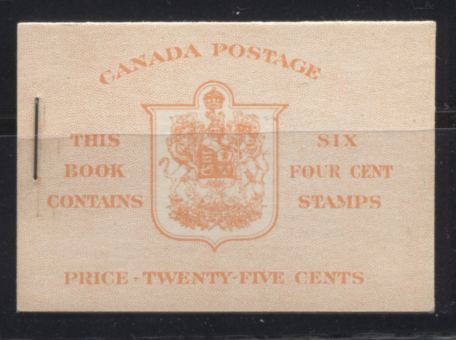 Canada #BK36f (McCann #36l) 1942-1949 War Issue, Complete 25¢ English Booklet, Ribbed Vertical Wove Paper, Type IIa Covers, Harris Front Cover IIi, Back Cover Type Cbii, Surcharged 7c and 6c Rate Page, 14 mm Staple Brixton Chrome