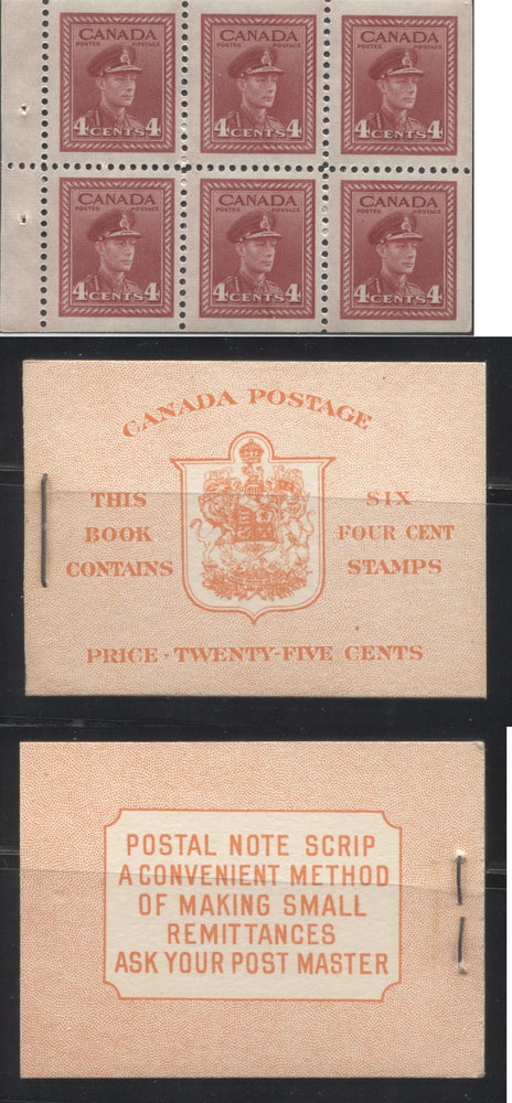 Canada #BK36g 1942-1949 War Issue, Complete 25¢ English Booklet, Ribbed Vertical Wove Paper, Type IIa Covers, Harris Front Cover IIi, Back Cover Type Cbi, 7c and 6c Rate Page Brixton Chrome