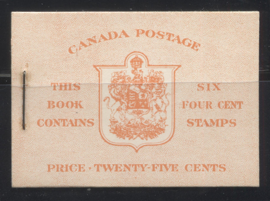 Canada #BK36g 1942-1949 War Issue, Complete 25¢ English Booklet, Ribbed Vertical Wove Paper, Type IIa Covers, Harris Front Cover IIi, Back Cover Type Cbiii, 7c and 6c Rate Page Brixton Chrome