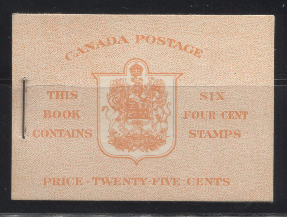 Canada #BK36g 1942-1949 War Issue, Complete 25¢ English Booklet, Smooth Vertical Wove Paper, Type IIa Covers, Harris Front Cover IIi, Back Cover Type Cbi, 7c and 6c Rate Page Brixton Chrome