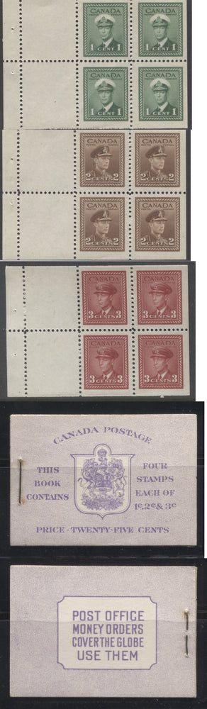 Canada #BK37a 1942-1949 War Issue, Complete 25¢ English Booklet, Ribbed and Smooth Vertical Wove Paper, Type II Covers, Harris Front Cover IIg, Back Cover Type A, 6c Rate Page Brixton Chrome