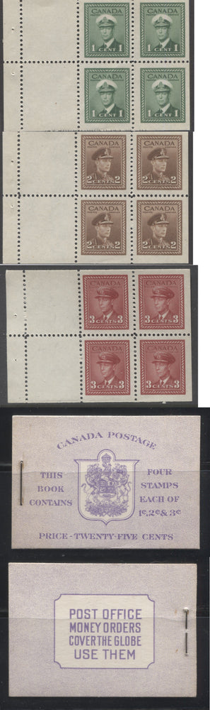 Canada #BK37e 1942-1949 War Issue, Complete 25¢ English Booklet, Ribbed and Smooth Vertical Wove Paper, Type II Covers, Harris Front Cover IIg, Back Cover Type A, Surcharged 6c & 7c Rate Page Brixton Chrome