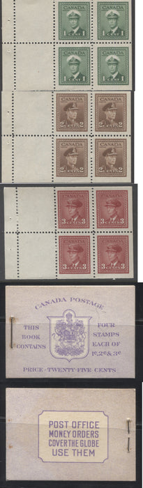 Canada #BK37e 1942-1949 War Issue, Complete 25¢ English Booklet, Smooth Vertical Wove Paper, Type II Covers, Harris Front Cover IIg, Back Cover Type A, Miscut Surcharged 6c & 7c Rate Page Brixton Chrome