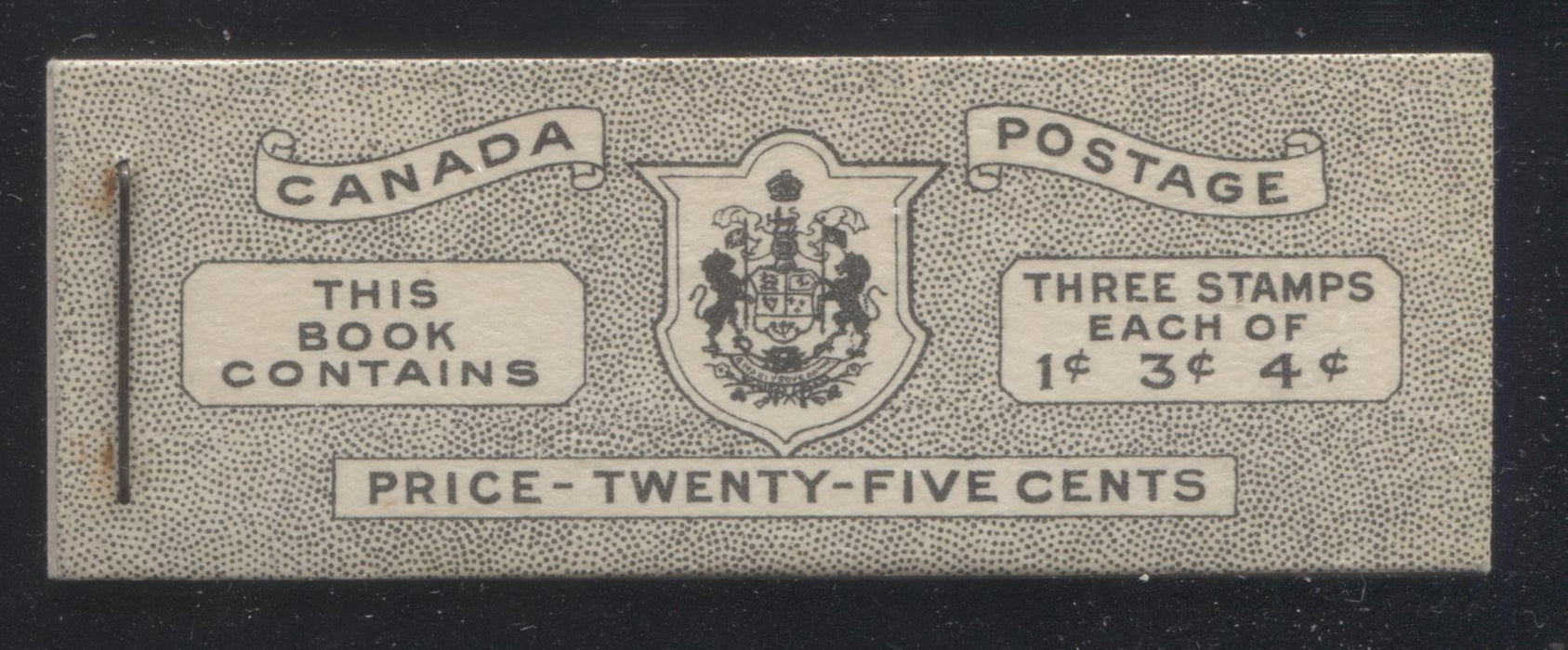 Canada #BK38a 1942-1949 War Issue Complete 25c, English Booklet Containing 1 Pane Each of 3 of 1c Green, 3c Rose-Purple and 4c Carmine Red, Harris Front Cover Type IVa , Back Cover Haiii, 7c & 6c Rate Page Brixton Chrome
