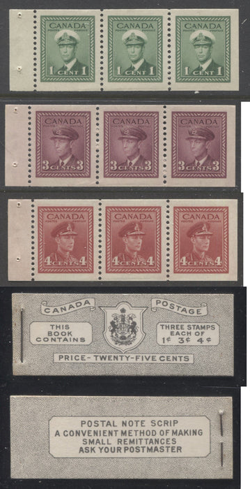 Canada #BK38a 1942-1949 War Issue Complete 25c, English Booklet Containing 1 Pane Each of 3 of 1c Green, 3c Rose-Purple and 4c Carmine Red, Harris Front Cover Type IVb , Back Cover Haiv, 7c & 6c Rate Page Brixton Chrome