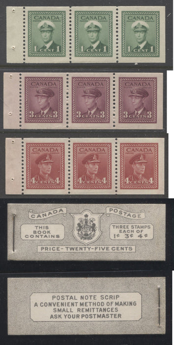 Canada #BK38a 1942-1949 War Issue Complete 25c, English Booklet Containing 1 Pane Each of 3 of 1c Green, 3c Rose-Purple and 4c Carmine Red, Harris Front Cover Type IVc , Back Cover Haiii, 7c & 6c Rate Page Brixton Chrome
