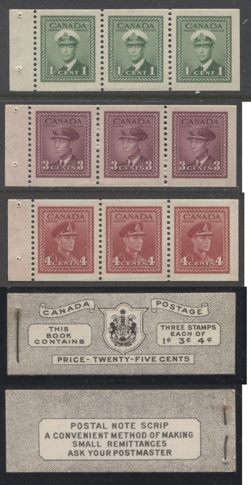 Canada #BK38a 1942-1949 War Issue Complete 25c, English Booklet Containing 1 Pane Each of 3 of 1c Green, 3c Rose-Purple and 4c Carmine Red, Harris Front Cover Type IVc , Back Cover Hai, 7c & 6c Rate Page Brixton Chrome