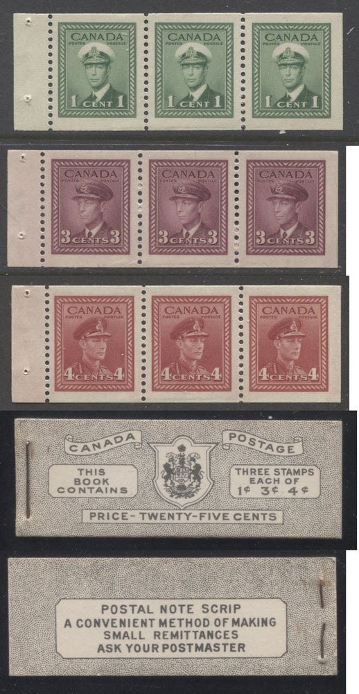 Canada #BK38a 1942-1949 War Issue Complete 25c, English Booklet Containing 1 Pane Each of 3 of 1c Green, 3c Rose-Purple and 4c Carmine Red, Harris Front Cover Type IVc , Back Cover Haii, 7c & 6c Rate Page Brixton Chrome
