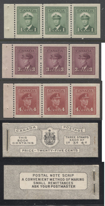 Canada #BK38a 1942-1949 War Issue Complete 25c, English Booklet Containing 1 Pane Each of 3 of 1c Green, 3c Rose-Purple and 4c Carmine Red, Harris Front Cover Type IVd , Back Cover Haiv, 7c & 6c Rate Page Brixton Chrome