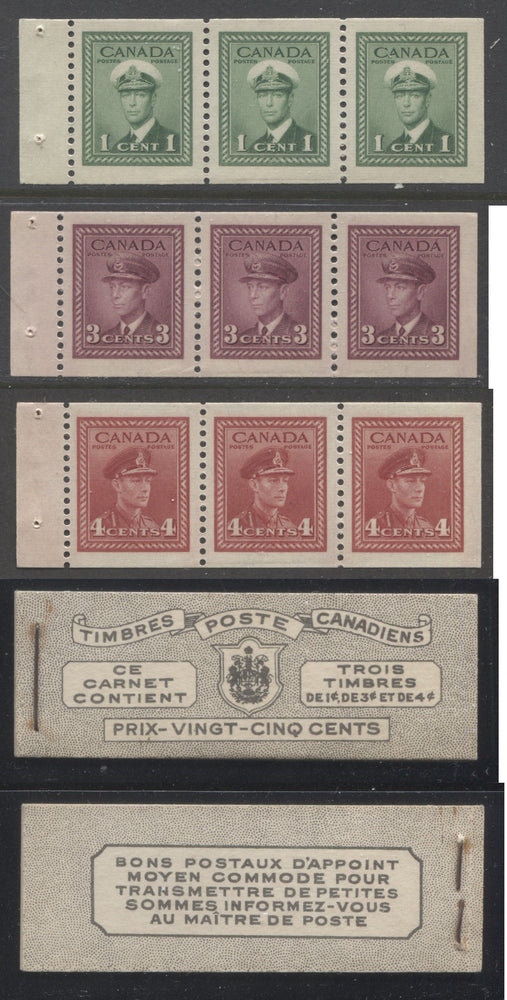 Canada #BK38a 1942-1949 War Issue Complete 25c, French Booklet Containing 1 Pane Each of 3 of 1c Green, 3c Rose-Purple and 4c Carmine Red, Harris Front Cover Type Vb , Back Cover Jvi, 7c & 6c Rate Page Brixton Chrome