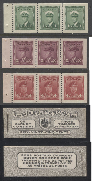 Canada #BK38a 1942-1949 War Issue Complete 25c, French Booklet Containing 1 Pane Each of 3 of 1c Green, 3c Rose-Purple and 4c Carmine Red, Harris Front Cover Type Vb , Back Cover Jii, 7c & 6c Rate Page Brixton Chrome