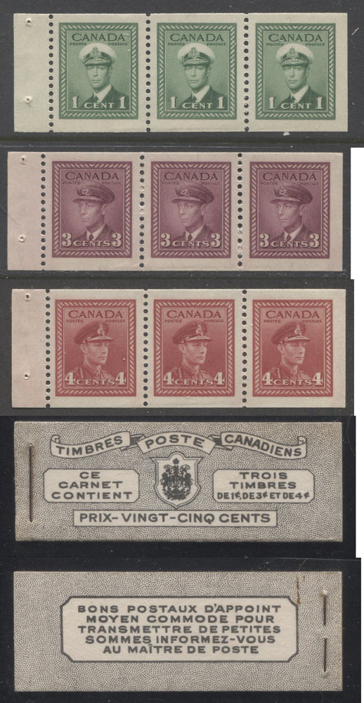 Canada #BK38a 1942-1949 War Issue Complete 25c, French Booklet Containing 1 Pane Each of 3 of 1c Green, 3c Rose-Purple and 4c Carmine Red, Harris Front Cover Type Vc , Back Cover Jvi, 7c & 6c Rate Page Brixton Chrome