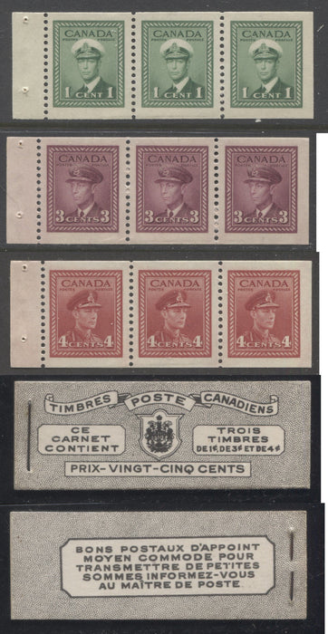 Canada #BK38a 1942-1949 War Issue Complete 25c, French Booklet Containing 1 Pane Each of 3 of 1c Green, 3c Rose-Purple and 4c Carmine Red, Harris Front Cover Type Vc , Back Cover Jiv, 7c & 6c Rate Page Brixton Chrome