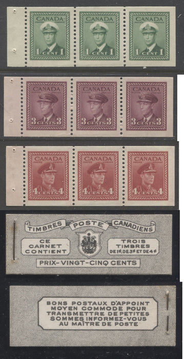 Canada #BK38a 1942-1949 War Issue Complete 25c, French Booklet Containing 1 Pane Each of 3 of 1c Green, 3c Rose-Purple and 4c Carmine Red, Harris Front Cover Type Vd , Back Cover Jiv, 7c & 6c Rate Page Brixton Chrome