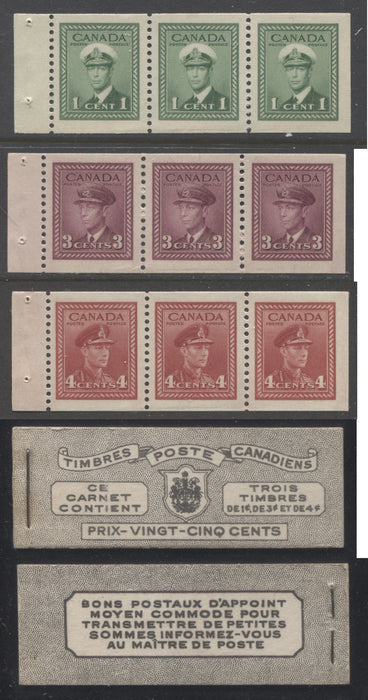 Canada #BK38a 1942-1949 War Issue Complete 25c, French Booklet Containing 1 Pane Each of 3 of 1c Green, 3c Rose-Purple and 4c Carmine Red, Harris Front Cover Type Vf , Back Cover Jv, 7c & 6c Rate Page Brixton Chrome